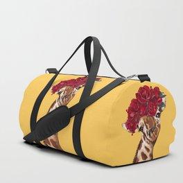 Giraffe with Rose Flower Crown in Yellow Duffle Bag