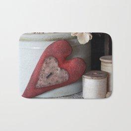 Vintage Heart Vignette Bath Mat