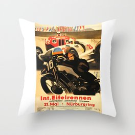 Nurburgring Race, vintage poster Throw Pillow