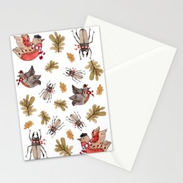 Birds with scarves  Stationery Cards