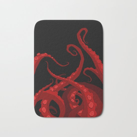 Subterranean Red Bath Mat