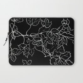 White ink, graphic, black cardboard, nature drawing maple leaves Laptop Sleeve