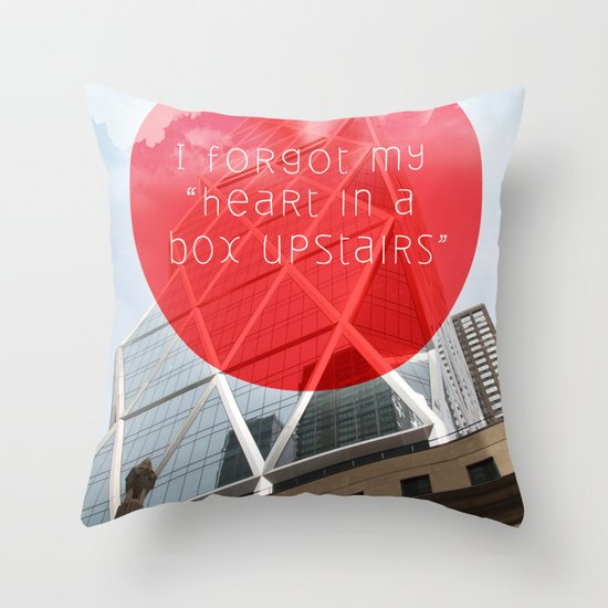 heart in a box upstairs Throw Pillow