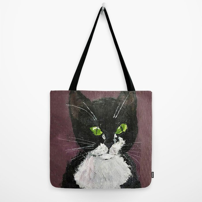 Cat Drawing Cute Black And White Cat With Green Eyes Tote Bag By