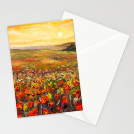 Field of red poppies at sunset in valley of mountains Original flowers oil painting on canvas. Impre Stationery Cards