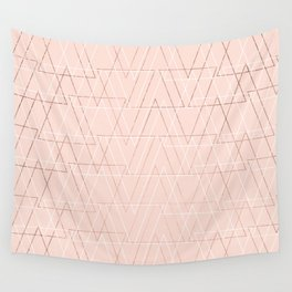 Modern white rose gold abstract geometric triangles on blush pink Wall Tapestry