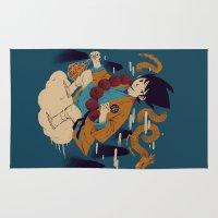dragonball Area & Throw Rugs featuring woodblockkakarot by Louis Roskosch