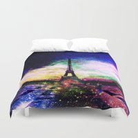 eiffel Duvet Covers featuring eiffel tower by haroulita