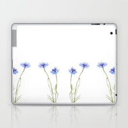 Two blue cornflower flowers isolated on white Laptop & iPad Skin