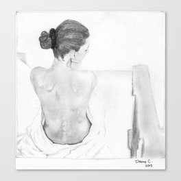 Sitting woman with her back exposed Canvas Print