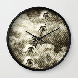 Butterflies against an abstract landscape Wall Clock