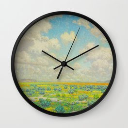 Granville Redmond Spring Antelope Valley Beautiful Landscape Painting Blue Sky Green Flower Filled F Wall Clock
