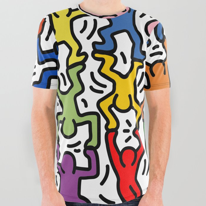 Homage to Keith Haring Acrobats II All Over Graphic Tee
