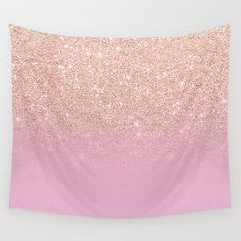 Rose gold glitter ombre on sweet lilac Wall Tapestry