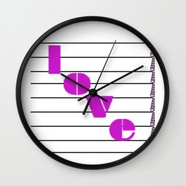 A love on many levels word pun in magenta notes descending black and white staff Wall Clock