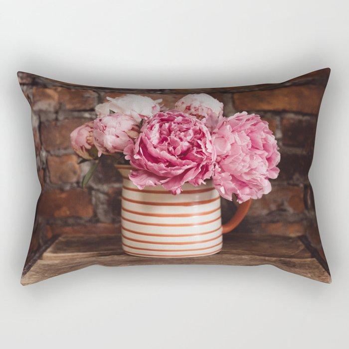 Peonies in a striped vase Rectangular Pillow