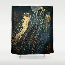 Metallic Jellyfish Shower Curtain