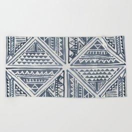 Simply Tribal Tile in Indigo Blue on Lunar Gray Beach Towel