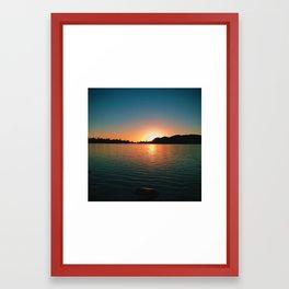 Sunset over Loon Lake Framed Art Print