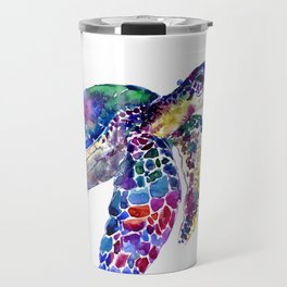 Sea Turtle Rainbow Colors, turtle design illustration artwork animals Travel Mug
