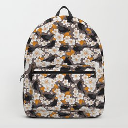 Waiting for the cherries II // Blackbirds brown background Backpack