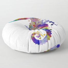 Colorful Seahorse Silhouette Floor Pillow