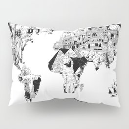 world map black and white Pillow Sham
