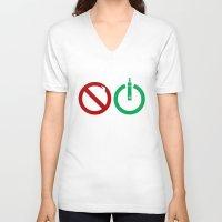 ohm V-neck T-shirts featuring Vape start ohm liquid by nicksoulart
