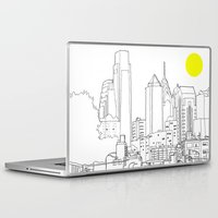 blueprint Laptop & iPad Skins featuring Philly Blueprint BW by ralexandertrejo
