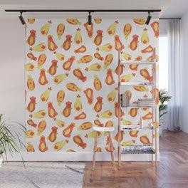 Watercolor Chicken Pattern Wall Mural