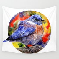 wesley bird Wall Tapestries featuring Bird by Anna Shell