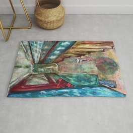 City,original painting,oil,canvas,Toronto,cityscape,abstract,art,perspective,wall artwork,colourful, Rug