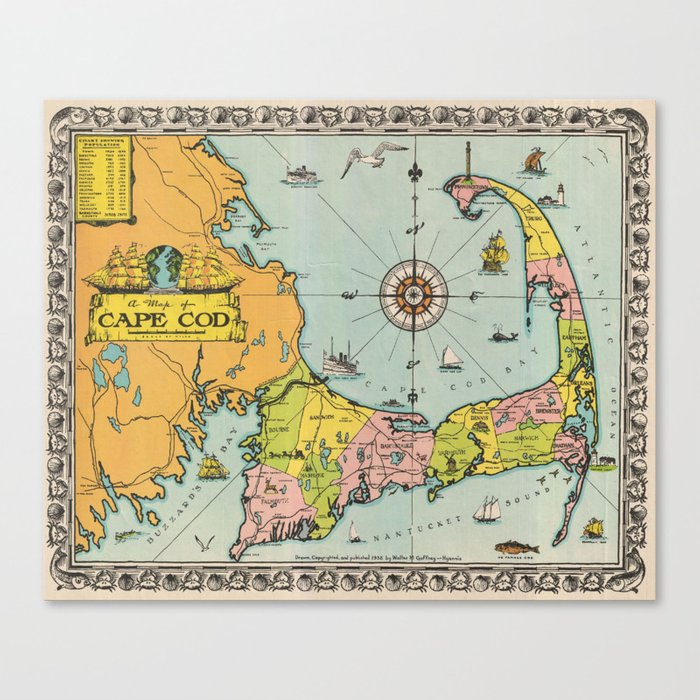 photo relating to Printable Map of Cape Cod titled Traditional Map of Cape Cod Canvas Print through bravuramedia