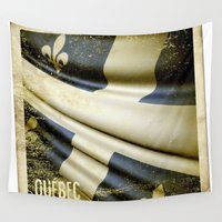 sticker Wall Tapestries featuring Quebec (Canada) grunge sticker flag by Lulla
