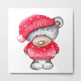 Christmas Teddy Bear Metal Print