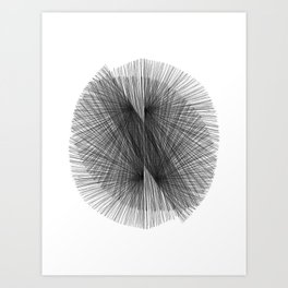 Black & White Mid Century Modern Radiating Lines Geometric Abstract Art Print