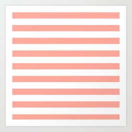 Simply Striped in Salmon Pink and White Art Print