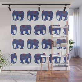 Lucky Elephant Indigo Wall Mural