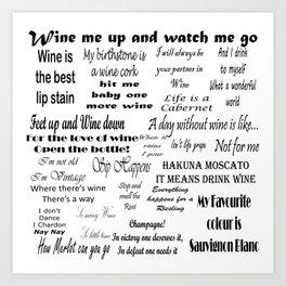 Wine Quotes Art Print
