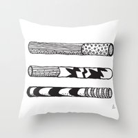 cigarettes Throw Pillows featuring Jazz Cigarettes by Beara
