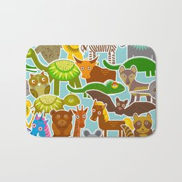 collection Funny cartoon Animals seamless pattern on blue background. Vector Bath Mat