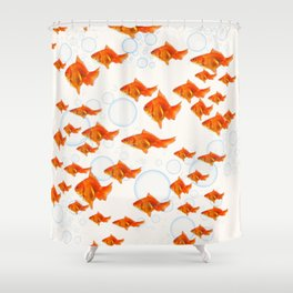 ABSTRACT GOLD FISH SWIMMING ART  DESIGN Shower Curtain