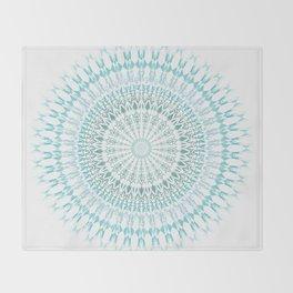 Turquoise White Mandala Throw Blanket