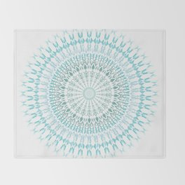 Turquoise White Mandala Throw Blanket