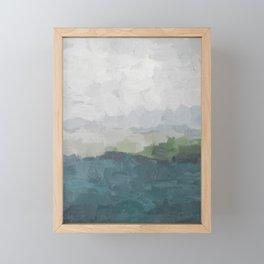 Gray Clouds Green Land Aqua Teal Water Ocean Waves Abstract Nature Painting Art Print Wall Decor  Framed Mini Art Print