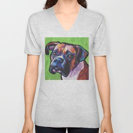 Fun BOXER Dog bright colorful Pop Art Painting by Lea Unisex V-Neck
