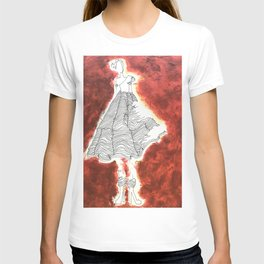 Gesture Lady in Dress, Red T-shirt