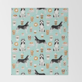 Husky coffee siberian husky owners gifts for dog person dog breed portraits by pet friendly Throw Blanket