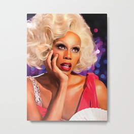 Rupaul Dragrace in Red Metal Print