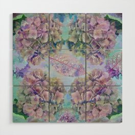 Watercolor hydrangeas and leaves Wood Wall Art